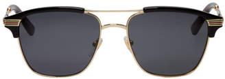 Gucci Gold and Black Retro Cruise Sunglasses
