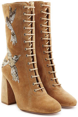 RED Valentino Embroidered Lace-Up Suede Boots