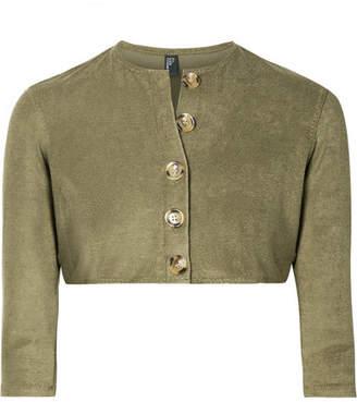 Lisa Marie Fernandez Stretch-cotton Terry Cardigan - Army green