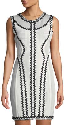 Herve Leger Imaan Pointelle Zigzag Bandage Dress