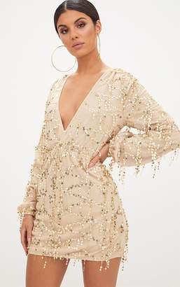 PrettyLittleThing Gold Plunge Sequin Long Sleeve Bodycon Dress