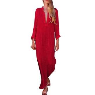 BOLUOYI Women Dresses Under 10 Dollars Prime,Women Boho Baggy Loose Long Sleeve V-Neck Linen Kaftan Maxi Dress Beach Dresses