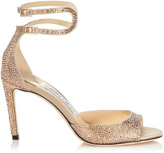 Jimmy Choo LANE 85 Rose Gold Satin Sandals with Crystal Hotfix