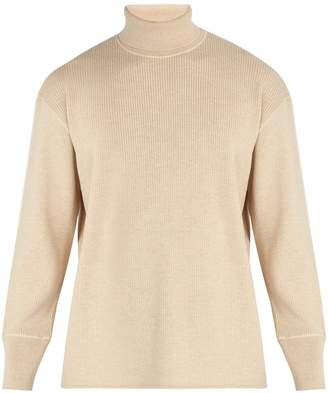 Jil Sander Ribbed wool and cotton-blend roll-neck sweater