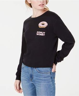Love Tribe Juniors' Donut Graphic Pocket T-Shirt