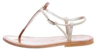 K Jacques St Tropez Metallic T-Strap Sandals
