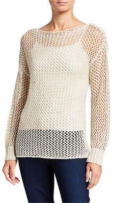 Joan Vass Boat-Neck Mesh Tape Yarn Sweater