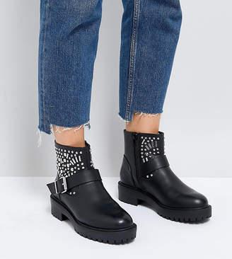 Asos DESIGN Wide Fit Apt studded biker boots