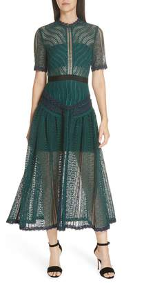 Self-Portrait Wave Lace Midi Dress