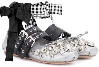 Miu Miu Studded metallic leather ballerinas