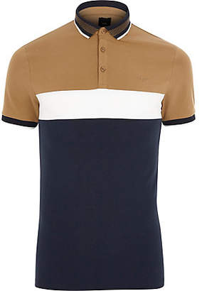 River Island Light brown slim fit blocked polo shirt