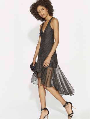 Halston MINIMAL METALLIC LACE DRESS