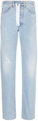 Off-White Off White Straight Leg Zip Jeans