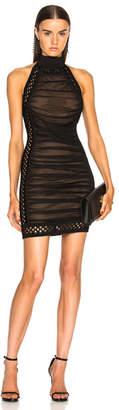 Balmain Lattice Trim Halter Mini Dress