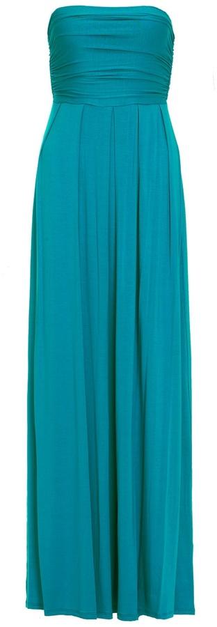 Jully Kang Strapless Jersey Maxi Dress Aqua