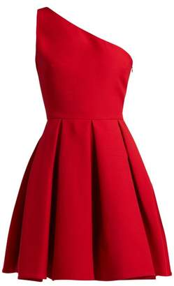Valentino One Shoulder Wool Blend Skater Dress - Womens - Red