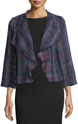 Karl Lagerfeld Paris Waterfall-Front Plaid Jacket
