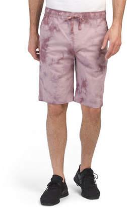 Tie Dye Drawstring Waist Poplin Shorts