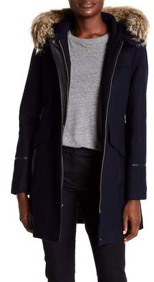 Trina Turk Riley Genuine Coyote Fur Trimmed Duffel Coat
