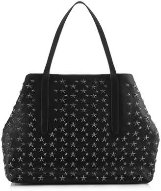 Jimmy Choo PIMLICO Black Leather Tote Bag with Gunmetal Stars