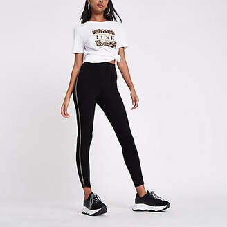 River Island Black sequin stripe side leggings
