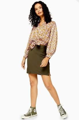 Topshop Womens Khaki Satin Bias Mini Skirt - Khaki