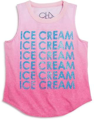 Chaser Girls' Ombré Ice Cream Glitter Muscle Tee - Little Kid, Big Kid