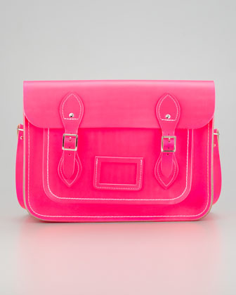 "Cambridge Silversmiths Satchel Company 13"" Classic Leather Satchel, Fluoro Pink"