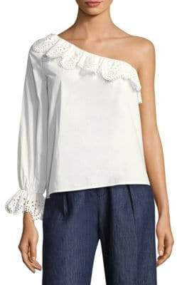 Joie (ジョア) - Joie Joie Women's Arianthe Ruffled One-Shoulder Top - Clean White - Size Large