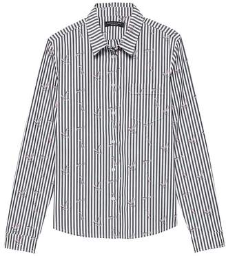 Banana Republic Petite Quinn Boy-Fit Champagne Stripe Shirt