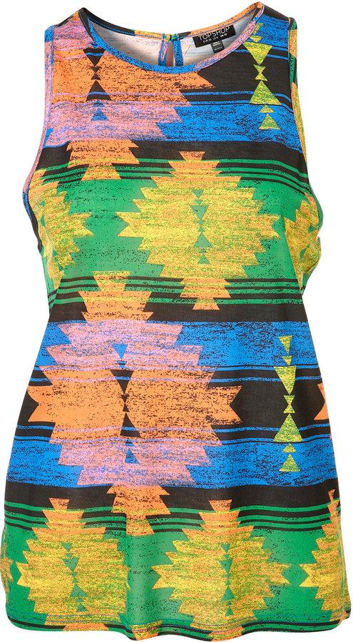 Multi Inca Print Stripe Vest