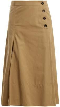 Joseph Side-button cotton-chino midi skirt