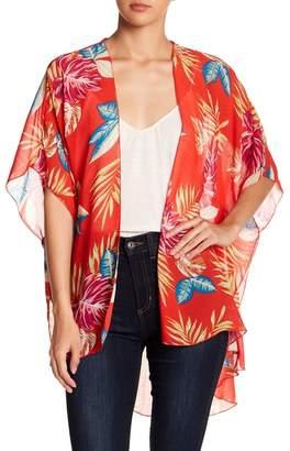 EMORY PARK Palm Patterned Hi-Lo Kimono