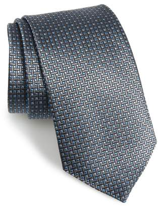 David Donahue Geometric Silk X-Long Tie