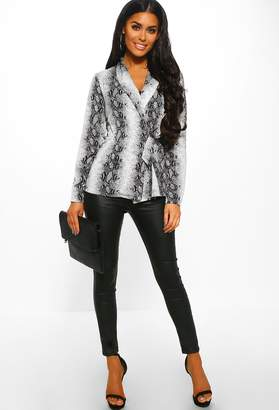 Pink Boutique Your Poison Grey Snake Print Long Sleeve Wrap Blouse