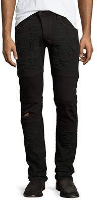 PRPS Marvel Windsor Distressed Stretch-Denim Moto Skinny Jeans