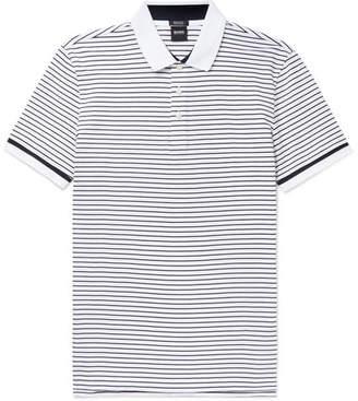 HUGO BOSS Parlay Striped Cotton-pique Polo Shirt - Blue