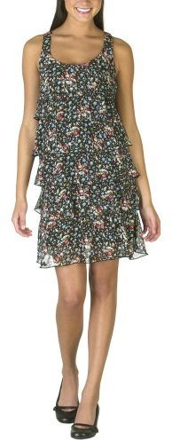 Juniors Xhilaration Floral Tiered Dress - Black