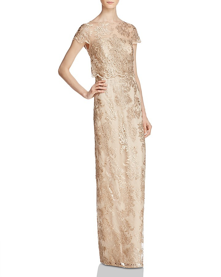 Adrianna Papell Adrianna Papell Bodice-Overlay Lace Gown