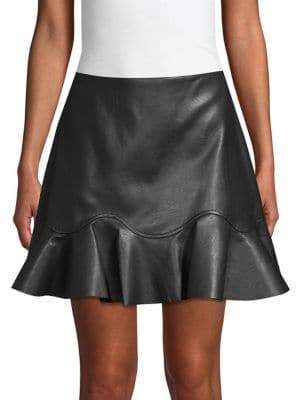 Rebecca Taylor Ruffle Hem Faux Leather Mini Skirt