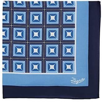 Ermenegildo Zegna Men's Square-Pattern Cotton-Silk Pocket Square