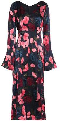 Mother of Pearl Fluted Floral-Print Silk-Satin Midi Dress