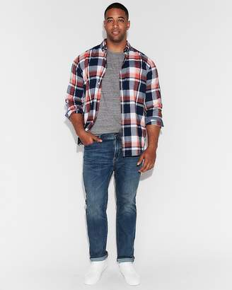 Express Slim Soft Wash Plaid Cotton Shirt