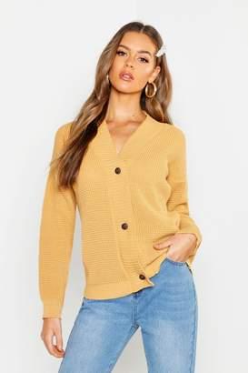boohoo Button Up Waffle Knit Cardigan