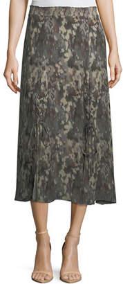 Haute Hippie Solo Printed Silk Midi Skirt