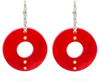 Marni Crystal And Hoop Earrings - Womens - Red