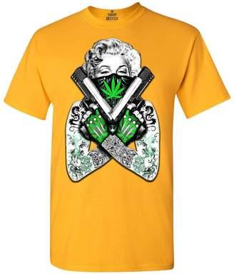 Monroe Shop4Ever Marilyn Bandana Pot Leaf T-shirt Weed Smoker Shirts 0