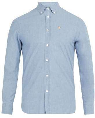 MAISON KITSUNÉ Logo Embroidered Cotton Shirt - Mens - Blue