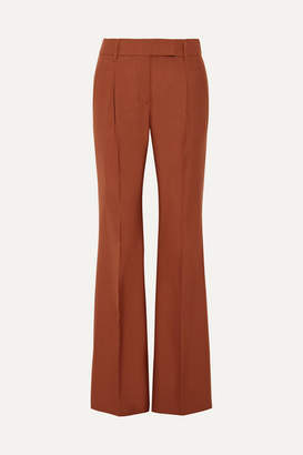 Prada Pleated Wool-blend Hopsack Wide-leg Pants - Brown