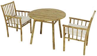 One Kings Lane Bamboo 3-Pc Round Dining Set - White/Natural